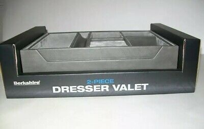 Berkshire Dresser Valet 2 Piece Tray Gray Leather 7 Compartments Watch -