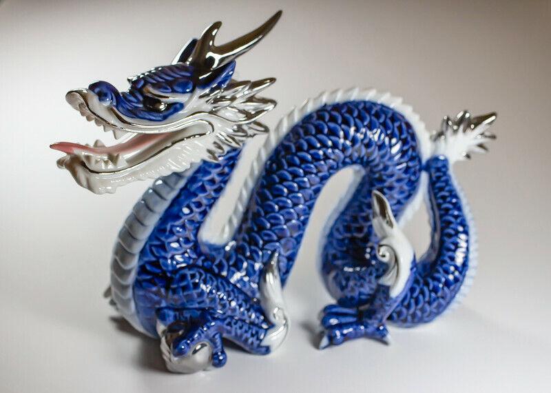 "Vintage Yoshimi K Porcelain/Ceramic Dragon With Chrome Ball Blue White RARE 8"" L"
