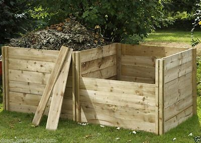3ft WOODEN GARDEN COMPOSTER EXTENSION PRESSURE TREATED TIMBER COMPOSTING NEW 3x3