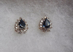 Blue Sapphire and Diamond Earrings for Sale