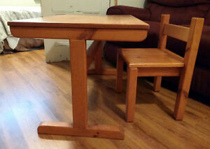 Vintage handmade solid pine child's table and chair