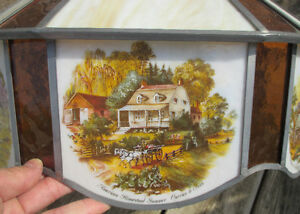"""Antique Currier & Ives Ceiling Lamp Stain Glass Shade Dia. 20.5"""" Stratford Kitchener Area image 10"""
