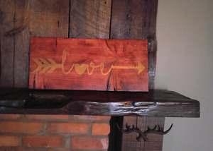 "24"" x 10 3/4"" love with arrow sign"