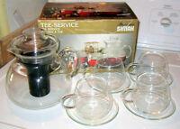 New Vintage Microwave Simax 10 Piece Glass Tea Set