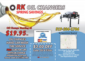 Oil Change starting at $19.95, tire service, car detailing