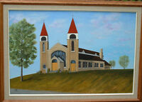 original oil painting of St. Gertrudes' Church in Woodstock