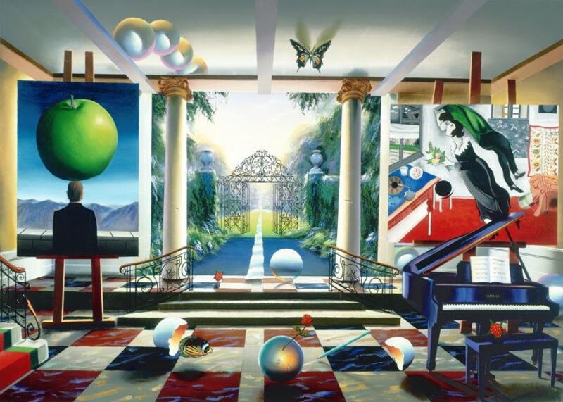 "Ferjo ""magic Garden"" Giclee Canvas 34x24 Hand Signed/# Surreal Artwork"