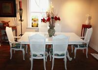 beautiful white dinning table with 6 chairs