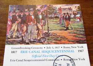 1967 Erie Canal Sesquicentennial Committee 5Cent First Day Cover Kitchener / Waterloo Kitchener Area image 2
