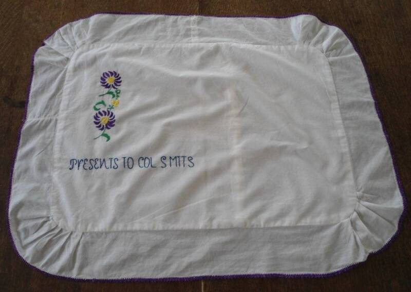 Antique Boudoir Pillow Sham Case Embroidered Present Colonel Smits Military