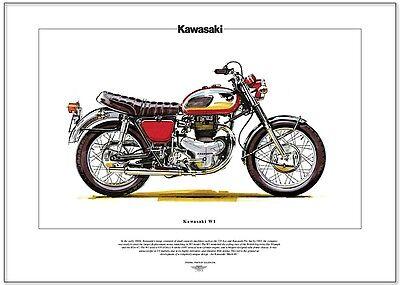 KAWASAKI W1 Motorcycle Fine Art Print - 650cc vertical-twin W1SS W2 W3 Meguro K1