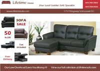 Condo Size Genuine Leather Sectional