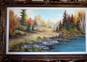 "Panoramic Countryside by E. Benninger ""Across the River"" 1970's"