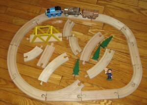 Toy Train tracks and Magnetic Engines,trees, bridge,person
