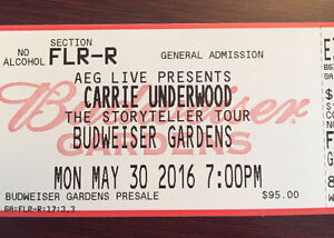 (2) Carrie Underwood Floor Seats [May 30th Budweiser Gardens]