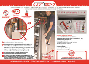 Just-Bend tool for Tapco and Van-Mark sheet metal brake