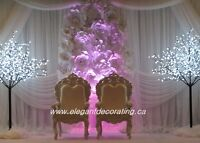 Backdrop with paper flowers and wedding package an affordable pr