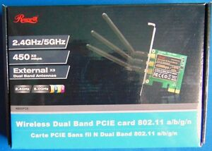New Rosewill 2.4/5 GHz 450x2 mbps PCIE card with 3 antennas