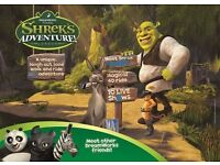 TWO TICKETS FOR SHREK'S ADVENTURE! LONDON SUNDAY 16th JULY 2017 1.30PM RRP £55