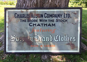 Antique 3' x 5' Metal sign clothing store Chatham, Ontario