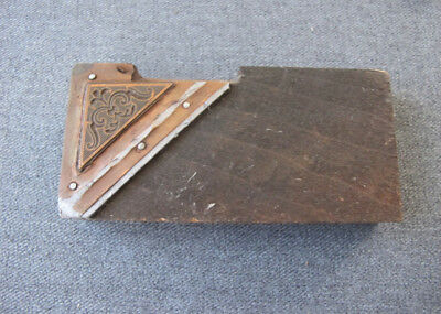 Vintage Decorated Corned Wood Metal Printing Press Block Stamp Ink Plate 3
