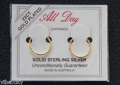 Jewellery - 22ct Gold Plated Sleepers Hoops HINGED Earrings 5 sizes! Australia made!