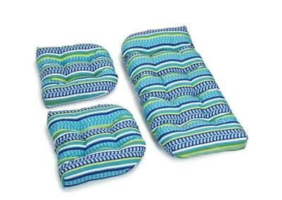 Outdoor All Weather 3pc Wicker Settee Chair CUSHION SET Blue Green Leafy Stripe ()