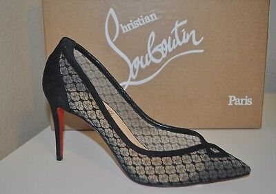 Christian Louboutin NEOALTO 85mm DENTELLE Pointy Pump Shoe Mesh Suede Black 6 US