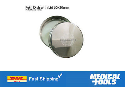 Petri Dishes With Lid X 6 Stainless Steel Non Rusting 60x20mm Labscientific