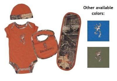 Browning Baby Camo Set body suit Hat Bib Burp Cloth Orange Blue 3 6 9 12 months