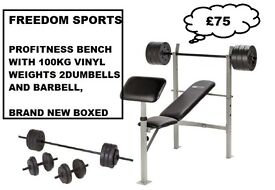 PROFITNESS BENCH WITH CURL PAD PLUS 100KG VINYL WEIGHTS SET