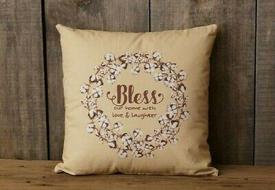 Farmhouse BLESS OUR HOME LOVE LAUGHTER PILLOW Cotton Boll Wreath Design Cottage