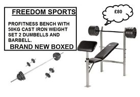 PROFITNESS BENCH WITH CURL 50KG IRON WEIGHTS SET 2 DUMBELLS BARBELL BNB £80