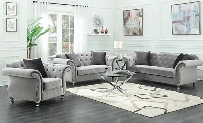 Latest Luxe Glam Living Room 3 Piece Sofa Loveseat Chair Couch Set Silver Velvet