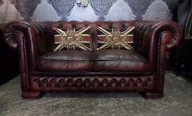 Stunning 2 Seater Chesterfield Low Back Sofa in Oxblood Red Leather - Uk Delivery