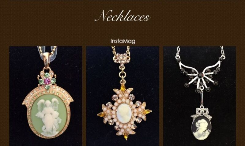 New 3 Pcs Lot Set Vintage Style Cameo Crystals Wedding Party Necklace Gift S152D