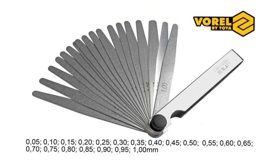 20-tlg 20 Blatt Fühlerlehre VOREL Abstandslehre 0.05mm - 1.0mm Konisch Spaltmass