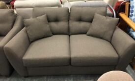 Dfs brown fabric 2 seater sofa with matching chair