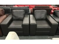 2 x Mocha brown leather Armchairs