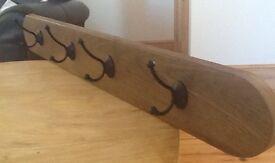 coat rack hand crafted wood 4 metal hooks