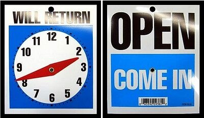 New Open Come In Will Return Store Business Clock Hands Sign With Chain