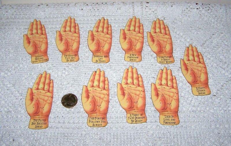 10~Halloween~Fortune Teller~Palmistry~Fussy Cut~Hand Shape~Linen Cardstock~Cards