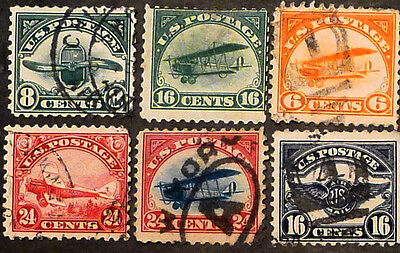 US STAMPS, SC #C1-C6, Used and Never Hinged.