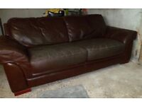 Large Sofa: Brown Genuine Leather: Over 7 ft wide!