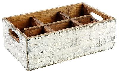 Table Caddy VINTAGE aus Pinienholz Box für Menagen und Flaschen Tablett 27x17 cm