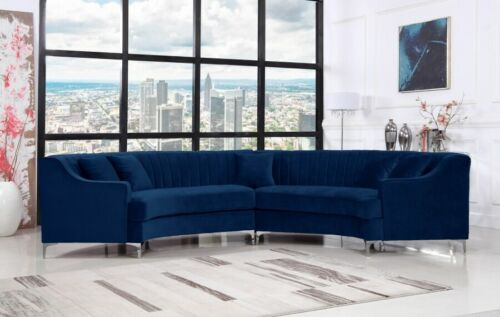 Channel Tufting Design Navy Color Contemporary Curved 2piece Sectional Sofa Set