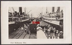 VICTORIA PORT MELBOURNE PIER TRAIN & 2 LINERS MOORED PASSENGERS WAVE PHOTO CARD