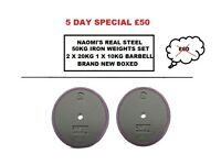 50KG BIG BOYS IRON WEIGHTS SET 2 X 20KG PLATES 1 X 10KG IRON BARBELL