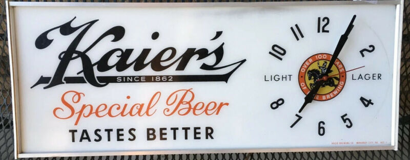 Vintage Man Cave Kaier Brewing Co. lighted Sign & Clock
