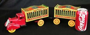 WYANDOTTE-PRESSED-STEEL-CIRCUS-TRUCK-AND-WAGON-ORIGINAL-EXCELLENT-L-K